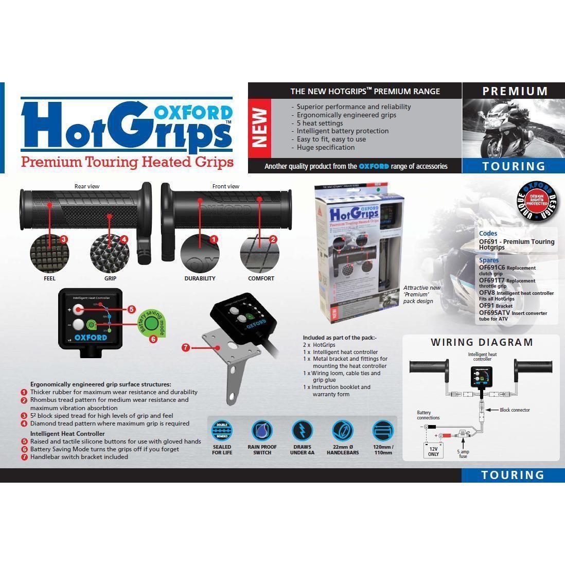 OF691 Hotgrips Heizgriffe Motorrad OXFORD Premium Touring