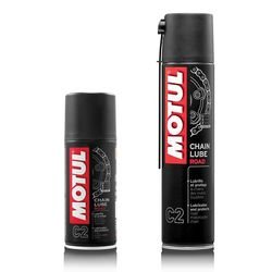 A colorless water and rust resistant adhesive spray that coats motorcycle chains even at high speeds, reducing high speed splatter. Especially recommended for very fast motorcycles, Chain Lube Road reduces friction and increases chain durability.      Reduces rolling friction and loss of power.     Improves transmission performance and increases chain service life.     Retains its lubricant properties at very high temperatures.     Water and rust resistant, preventing corrosion.     Protects the O-rings.     Contains a solvent to eliminate old residue and to penetrate into the links.     Compatible with all types of chain.      Clean the chain with MOTUL CHAIN CLEAN.     Shake well before use.     Apply thoroughly to the whole length of the inner chain.     Leave to dry for a few minutes to ensure adherence.  Available in 150ml or 400ml.