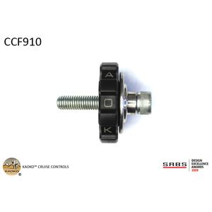 KAOKO Cruise Control for BMW F700GS ('13- ) , with OEM steel back bone hand guards which secure in-between the OEM bar end weight and the OEM throttle grip.CCF910